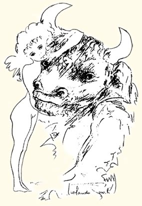 Minotaur - Drawing by Rolando Toro